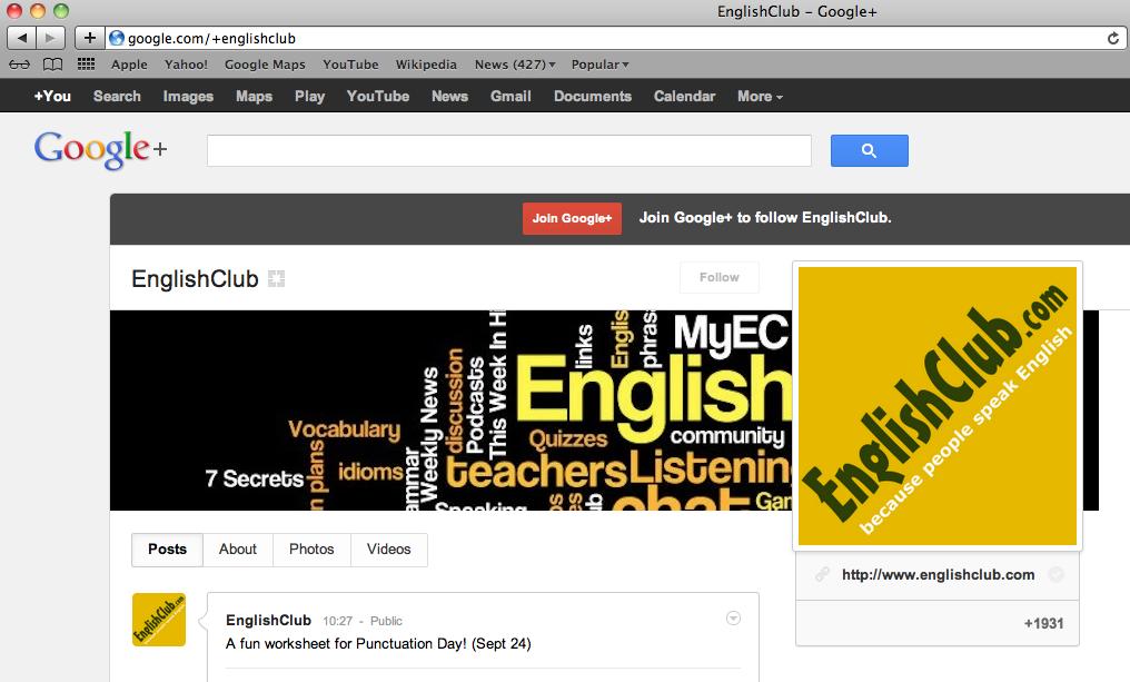 EnglishClub on Google +
