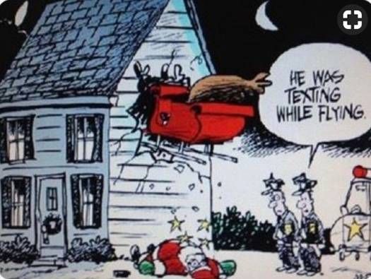 Santa texting while flying by Peter Heilig