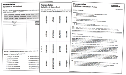 Syllables Set consisting of worksheet, gamesheet and teachersheet