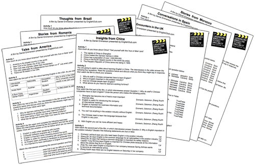 Learning English Video Project Worksheets
