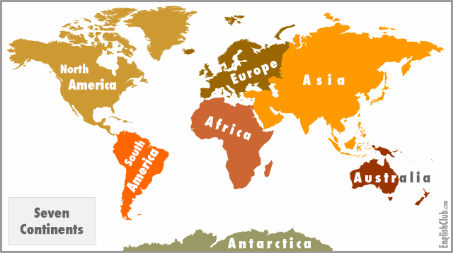 Continents EnglishClub - List of 7 continents of the world