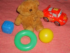 teddy bear, ring, car, block, ball