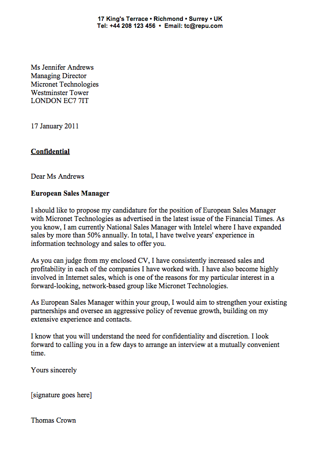 covering letter sales manager - Examples Of Writing A Cover Letter
