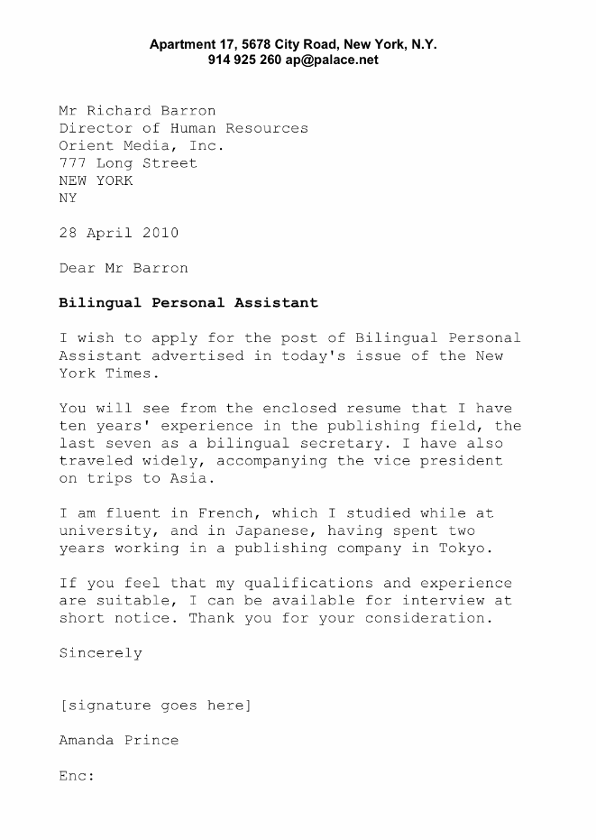 Sample Cover Letter For Secretary Business English Englishclub