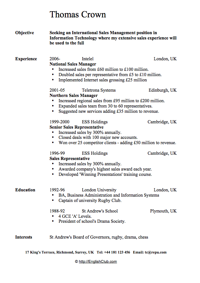 Sample Resume Cv For Sales Manager Business English Englishclub