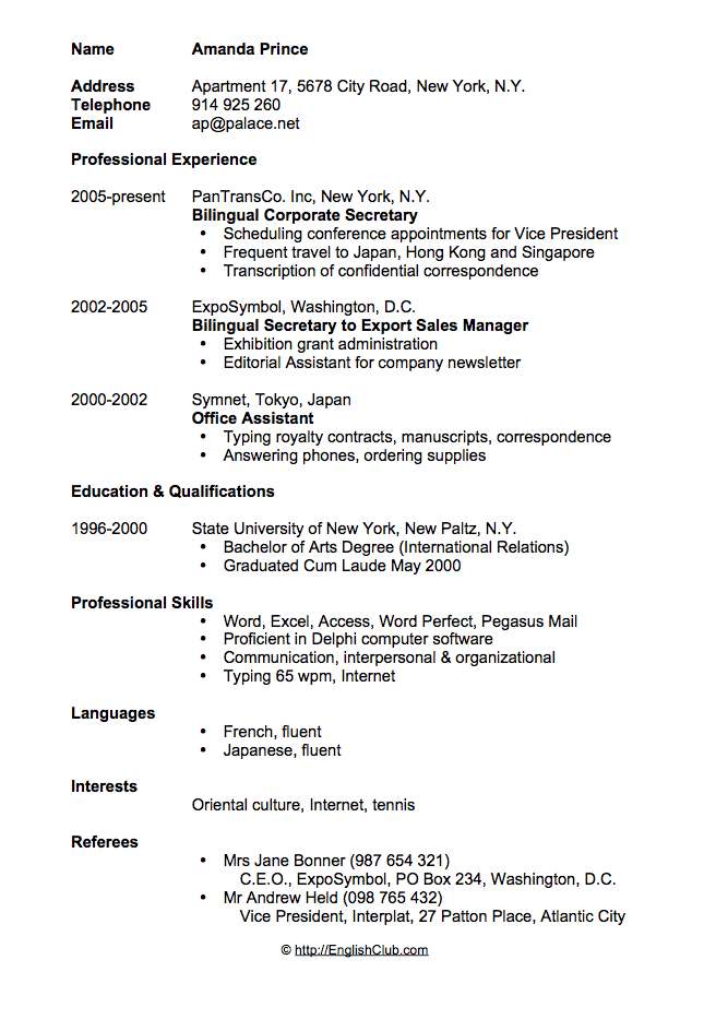Sample resume/CV for secretary | English Club
