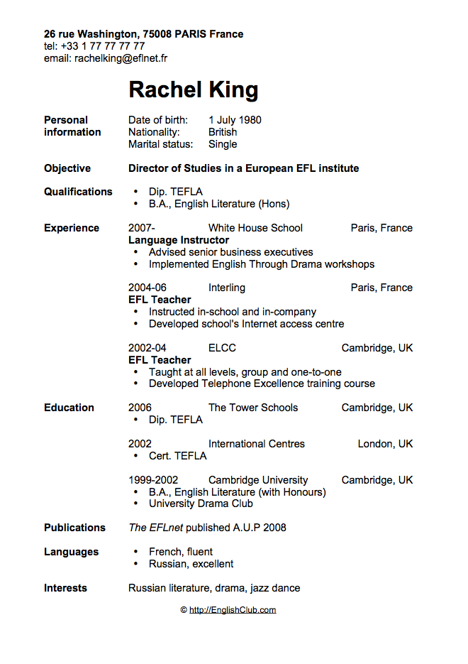 sample resume cv for english teacher english club
