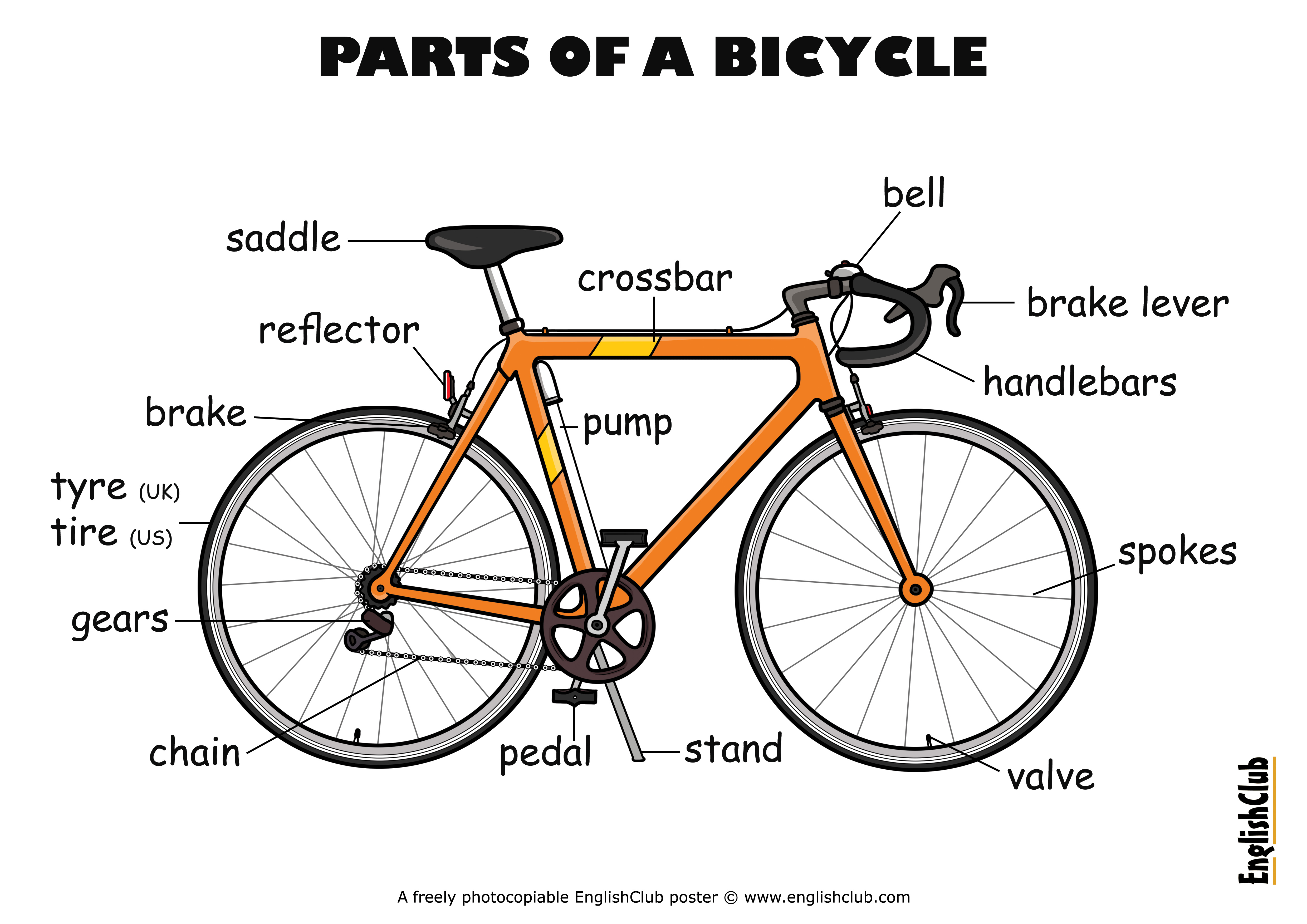 Englishclub Poster Parts Of A Bicycle Ukus