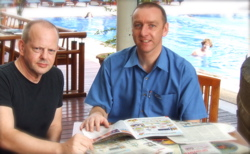 Grammarman creator Brian Boyd (right) with Josef Essberger