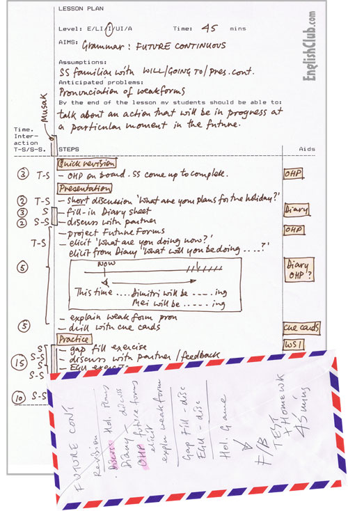 handwritten lesson plan and a back-of-the-envelope lesson plan ...