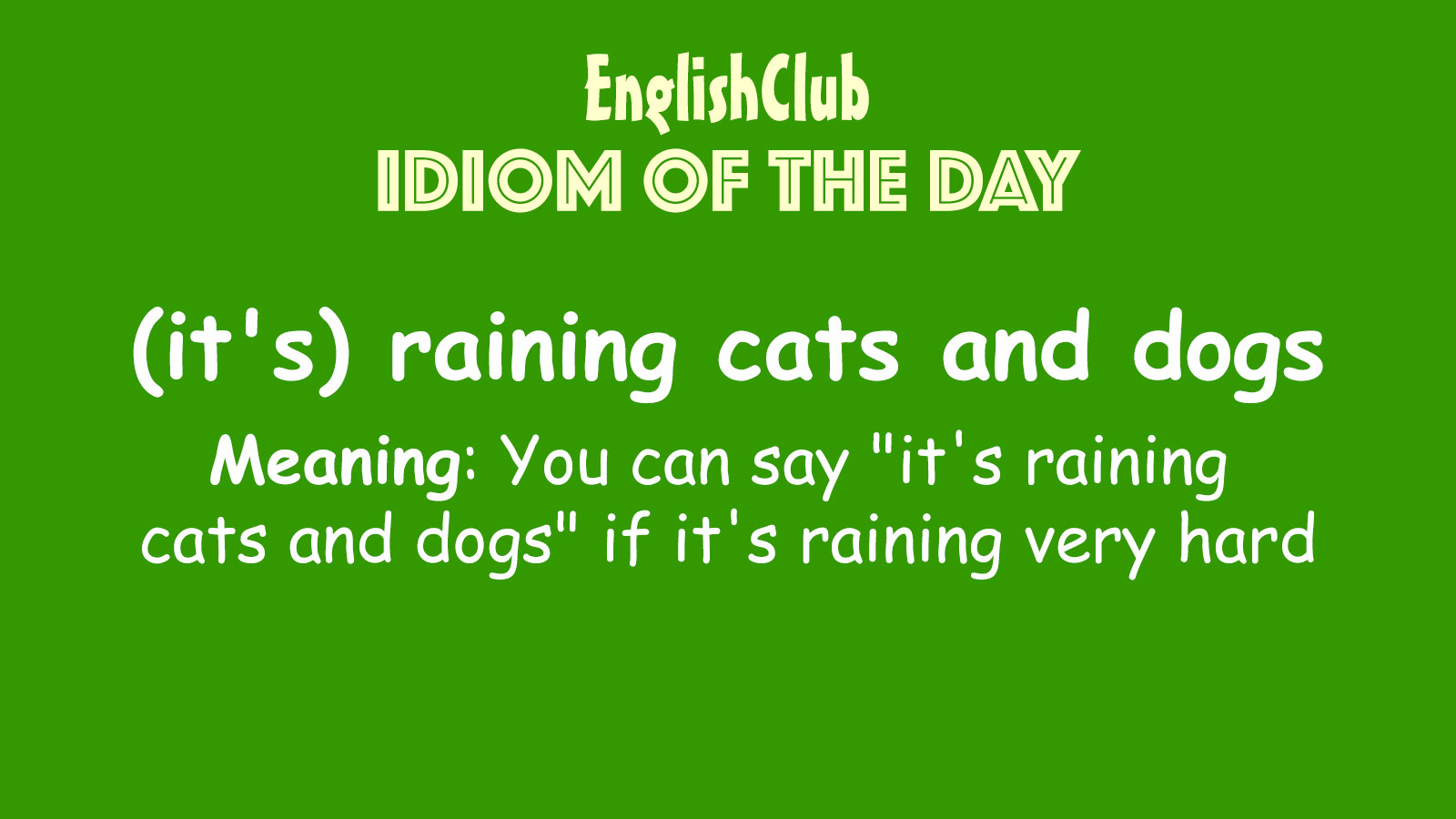 It S Raining Cats And Dogs Vocabulary Englishclub