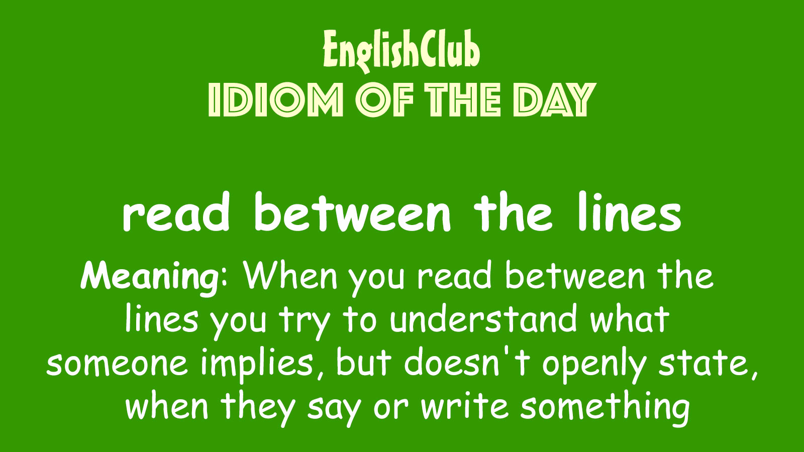 Reading between the lines examples