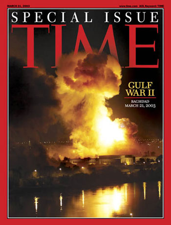 So-called Shock and Awe attack on the city of Baghdad that heralded the start of the American-led invasion of Iraq