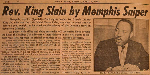 Newspaper headline records assassination of Martin Luther King