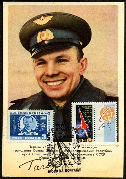 Postcard and stamps showing Yuri Gagarin