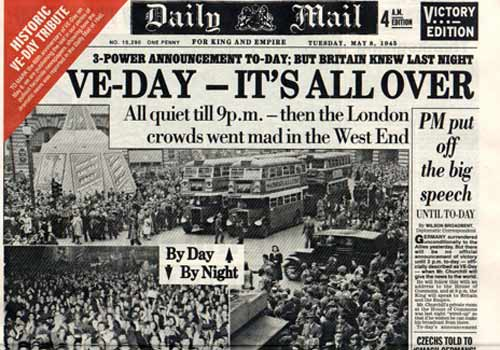 Daily Mail front page for 8th May 1945