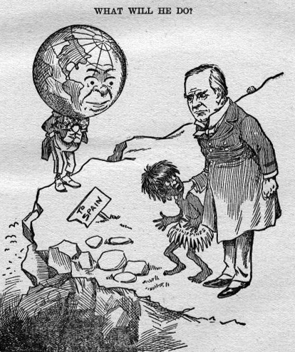 Contemporary American cartoon showing US President McKinley deciding the fate of the Philippines