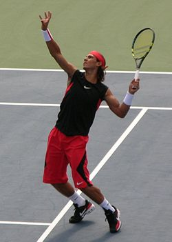 Rafael Nadal playing in the 2006 U.S. Open