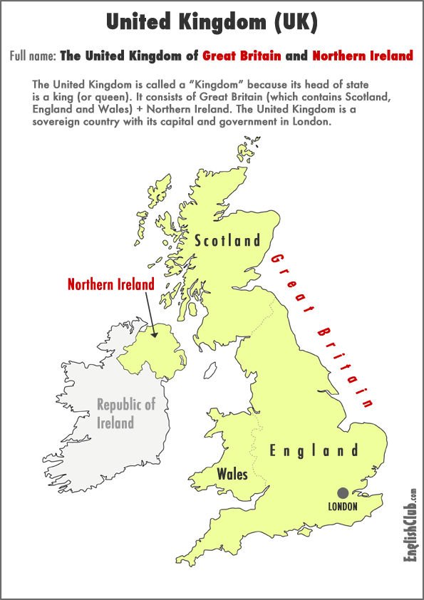 Map Of England And Britain.England Or United Kingdom Uk Vocabulary Englishclub