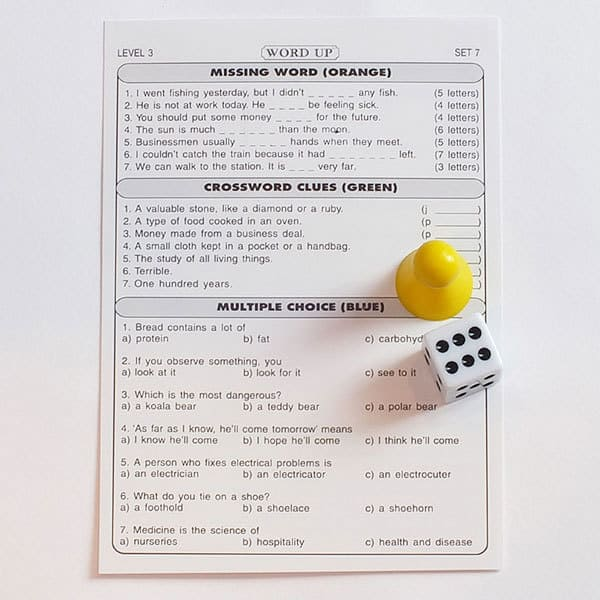 ESL board game Question sheet example (level 3)