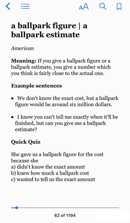 Idioms: a ballpark figure