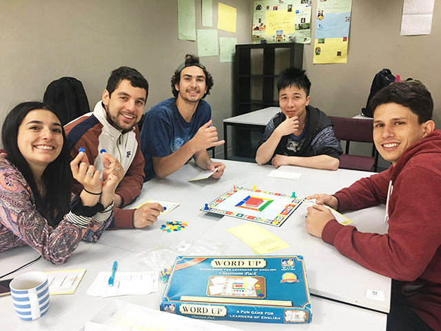 Language students enjoy a game of WORD UP in class (Photo: Selena Long)